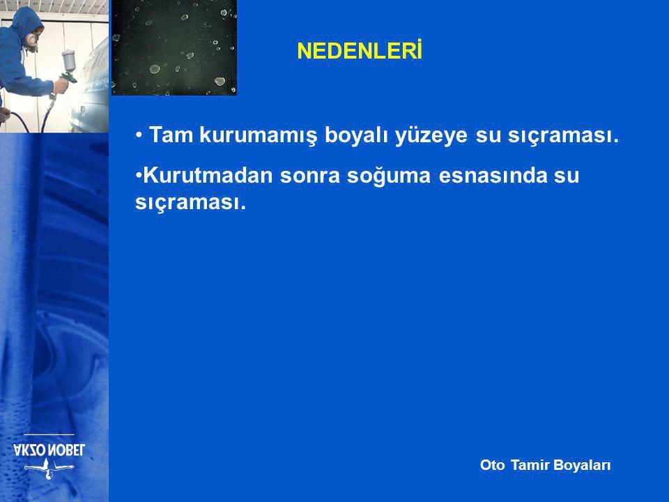 Oto Tamir Boyaları NEDENLERİ • Tam kurumamış boyalı yüzeye su sıçraması.