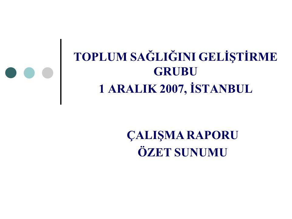 TOPLUM SAĞLIĞINI GELİŞTİRME GRUBU 1 ARALIK 2007, İSTANBUL ÇALIŞMA RAPORU ÖZET SUNUMU