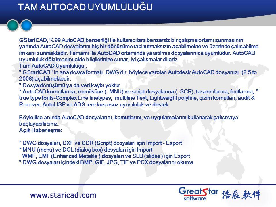 Company LOGO TAM AUTOCAD UYUMLULUĞU Training System GStarICAD, %99 AutoCAD benzerliği ile kullanıcılara benzersiz bir çalışma ortamı sunmasının yanında AutoCAD dosyalarını hiç bir dönüşüme tabi tutmaksızın açabilmekte ve üzerinde çalışabilme imkanı sunmaktadır.