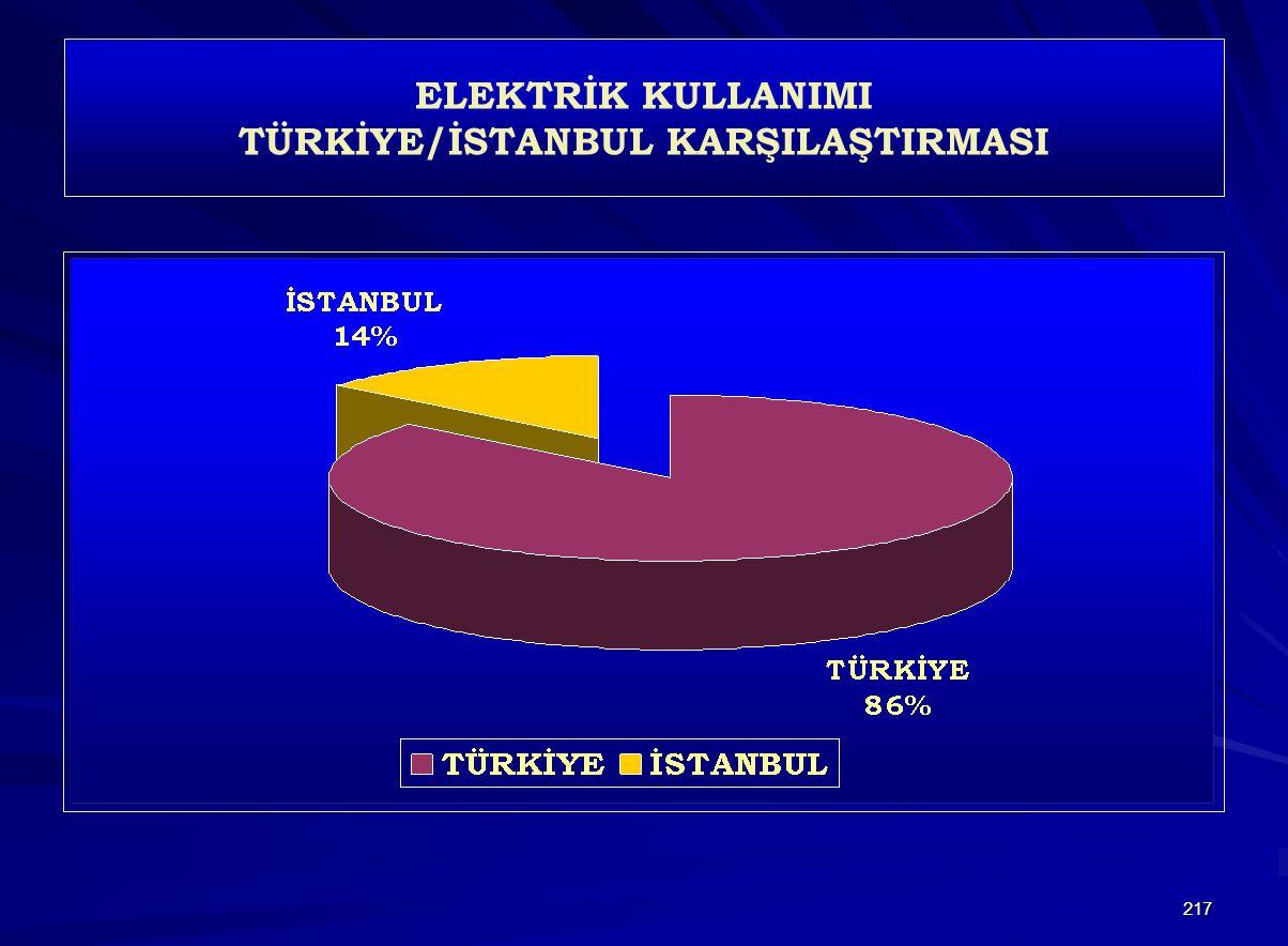 217 ELEKTRİK KULLANIMI TÜRKİYE/İSTANBUL KARŞILAŞTIRMASI