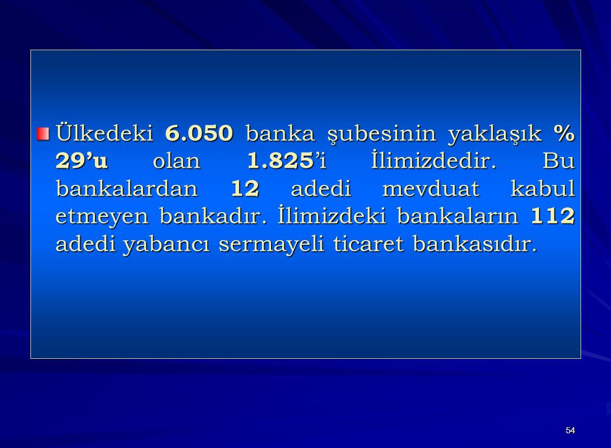 54 Ülkedeki 6.050 banka şubesinin yaklaşık % 29'u olan 1.825 'i İlimizdedir. Bu bankalardan 12 adedi mevduat kabul etmeyen bankadır. İlimizdeki bankal