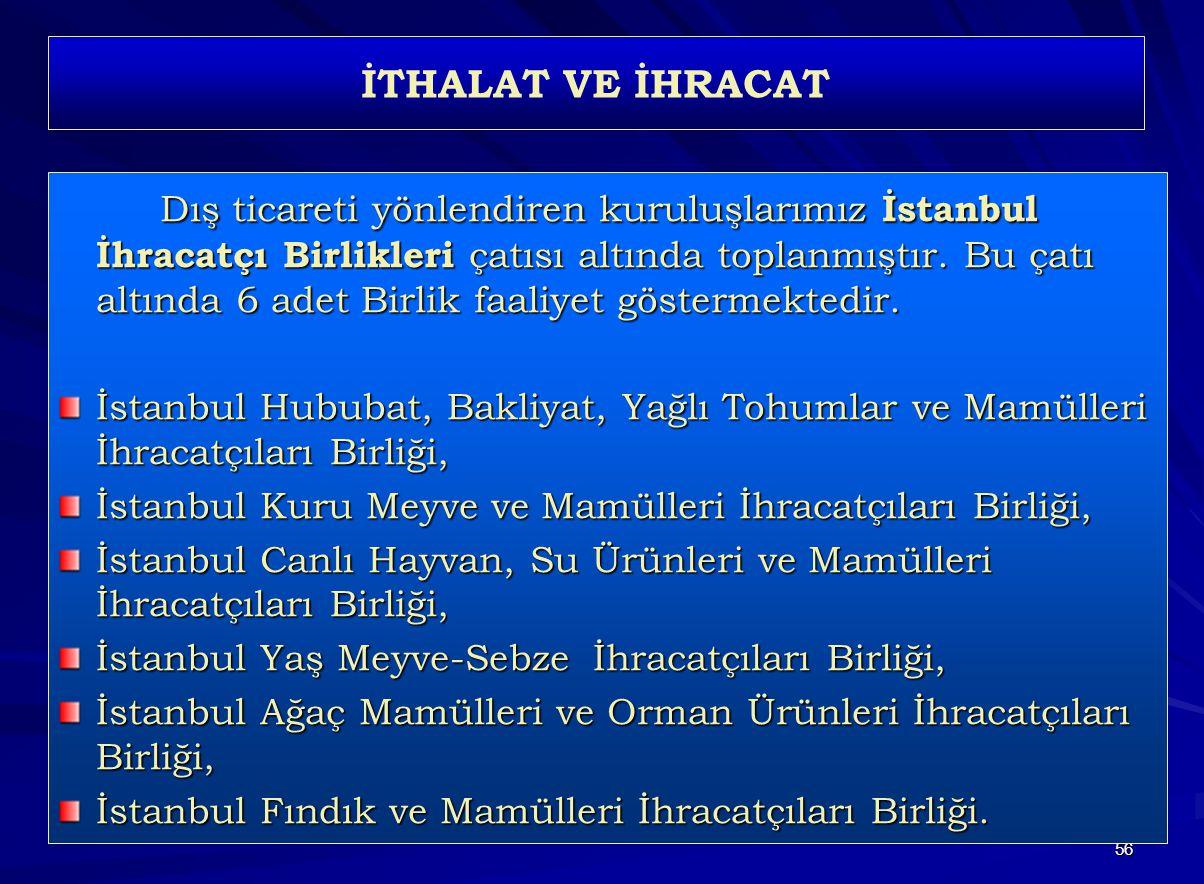 56 İTHALAT VE İHRACAT Dış ticareti yönlendiren kuruluşlarımız İstanbul İhracatçı Birlikleri çatısı altında toplanmıştır. Bu çatı altında 6 adet Birlik