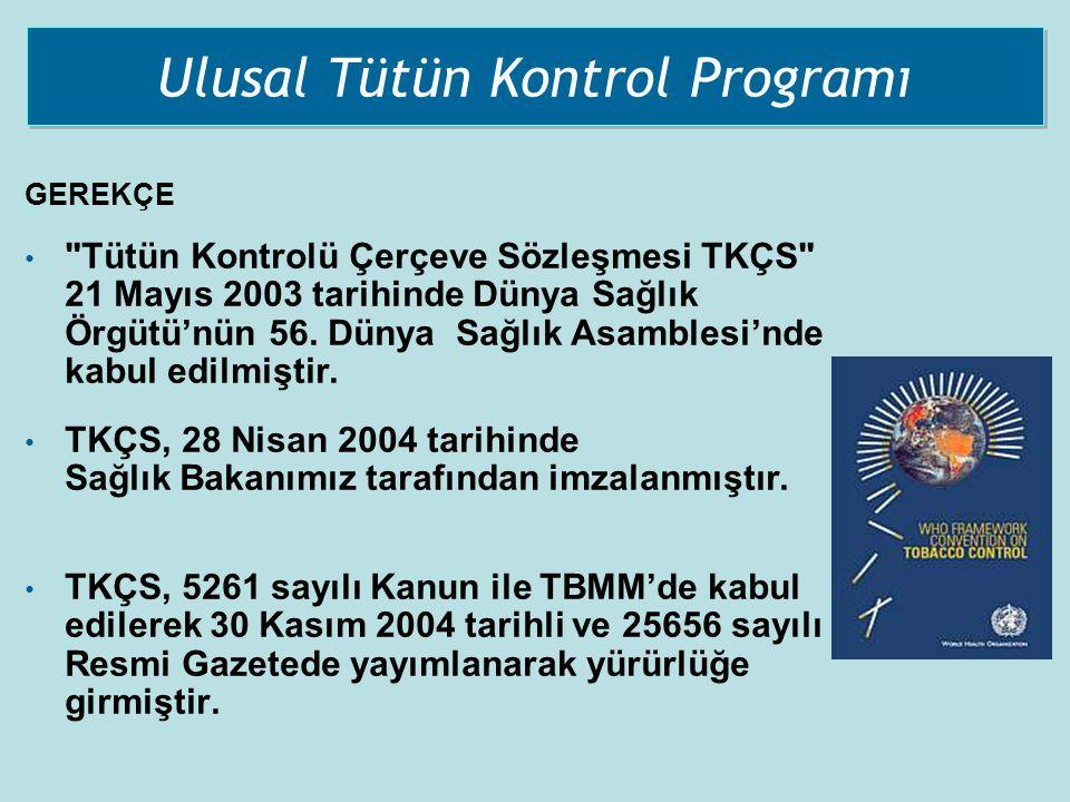 Ulusal Tütün Kontrol Programı GEREKÇE •