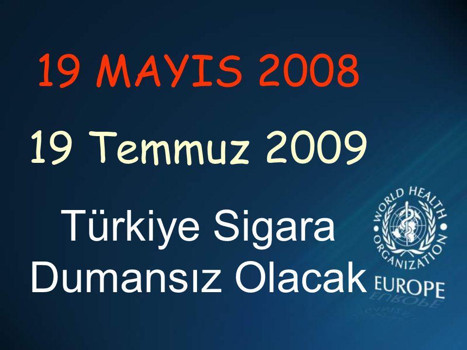 19 MAYIS 2008 19 Temmuz 2009 Türkiye Sigara Dumansız Olacak