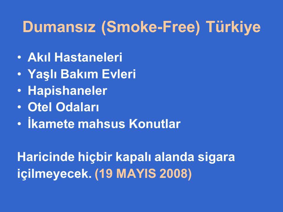 Dumansız (Smoke-Free) Türkiye •Akıl Hastaneleri •Yaşlı Bakım Evleri •Hapishaneler •Otel Odaları •İkamete mahsus Konutlar Haricinde hiçbir kapalı aland