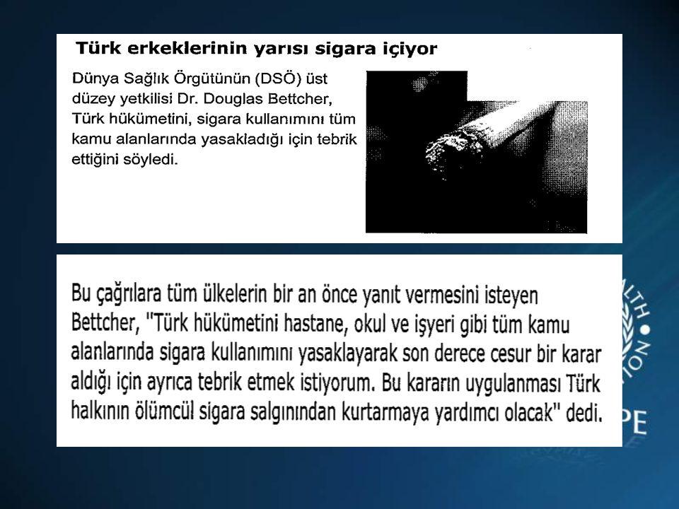 Ülkemizde sigara içenlerin % 64,1'i, içmeyenlerin % 91,1'i halka açık yerlerde sigara içilmesinin yasaklanması gerektiğini düşünmektedir (KGTA 2003) ENDONEZYA