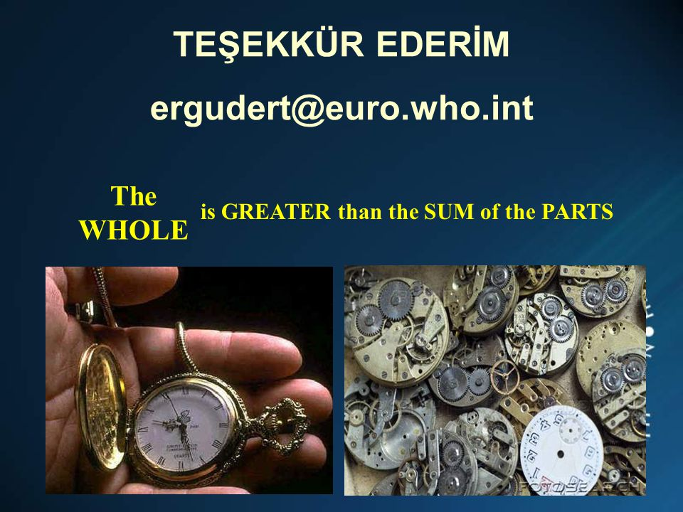 TEŞEKKÜR EDERİM ergudert@euro.who.int The WHOLE is GREATER than the SUM of the PARTS