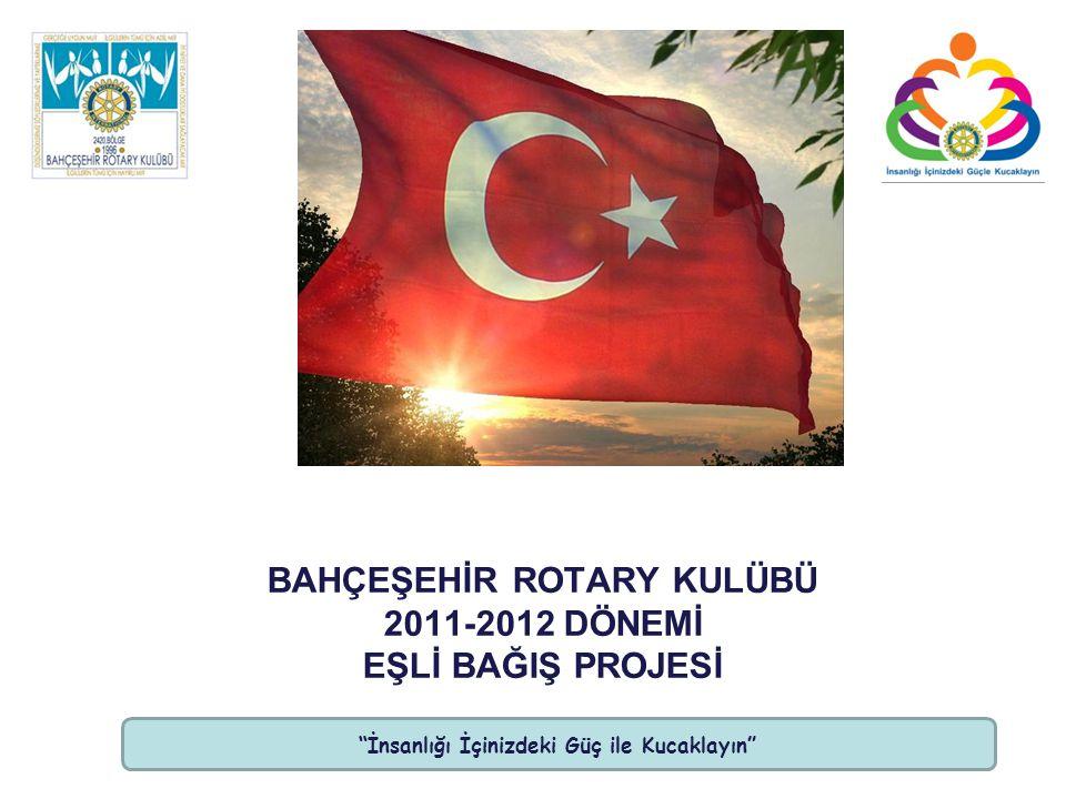 İnsanlığı İçinizdeki Güç ile Kucaklayın BAHÇEŞEHİR ROTARY KULÜBÜ 2011-2012 DÖNEMİ EŞLİ BAĞIŞ PROJESİ