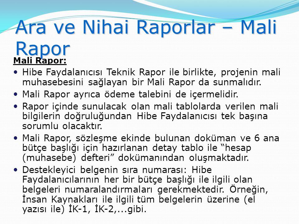 Ara ve Nihai Raporlar – Mali Rapor Mali Rapor:  Hibe Faydalanıcısı Teknik Rapor ile birlikte, projenin mali muhasebesini sağlayan bir Mali Rapor da s