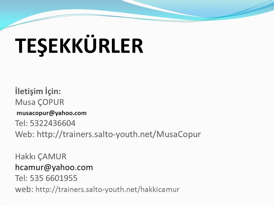 TEŞEKKÜRLER İletişim İçin: Musa ÇOPUR musacopur@yahoo.com Tel: 5322436604 Web: http://trainers.salto-youth.net/MusaCopur Hakkı ÇAMUR hcamur@yahoo.com