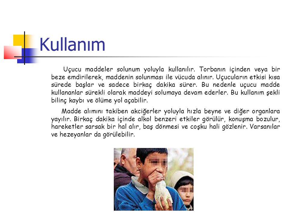 Kullanım Türkiye'deki araştırma bulgularına göre ilköğretim öğrencilerinde, yaşam boyu en az bir kez uçucu madde kullanımı %3.2, ortaöğretim öğrencilerinde %5.2'dir.