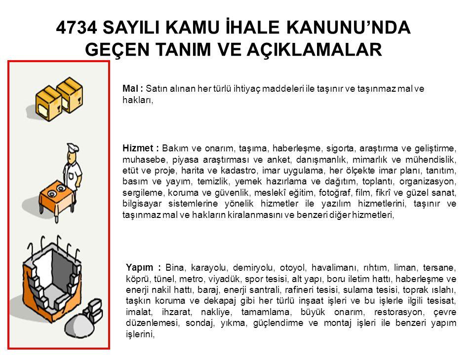 4734 SAYILI KAMU İHALE KANUNU'NDA GEÇEN TANIM VE AÇIKLAMALAR Mal : Satın alınan her türlü ihtiyaç maddeleri ile taşınır ve taşınmaz mal ve hakları, Hi