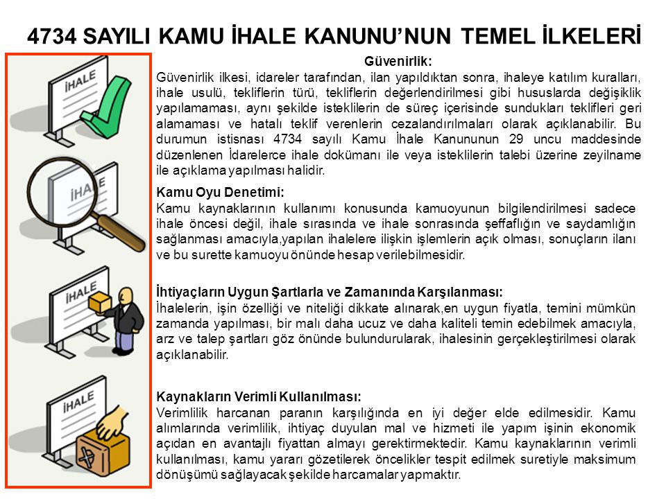 4734 SAYILI KAMU İHALE KANUNU'NUN TEMEL İLKELERİ Güvenirlik: Güvenirlik ilkesi, idareler tarafından, ilan yapıldıktan sonra, ihaleye katılım kuralları