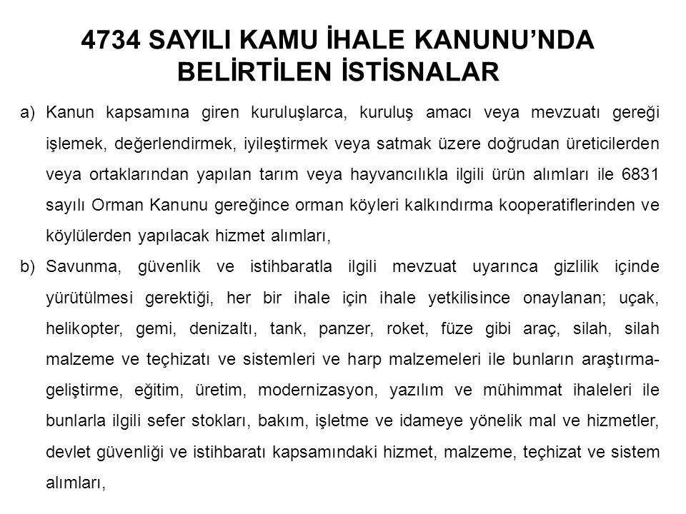 4734 SAYILI KAMU İHALE KANUNU'NDA BELİRTİLEN İSTİSNALAR a)Kanun kapsamına giren kuruluşlarca, kuruluş amacı veya mevzuatı gereği işlemek, değerlendirm