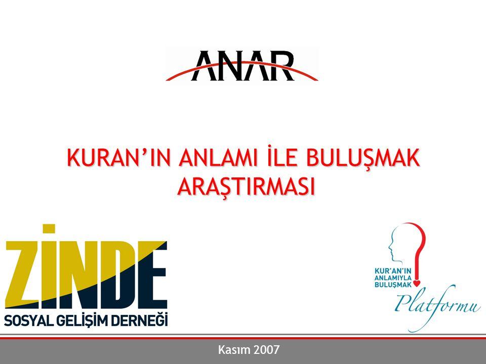 Kuran'ın Anlamı ile Buluşmak Araştırması 112 Yaşa Göre Evde Kuran'ın Arapça Okunma Durumu