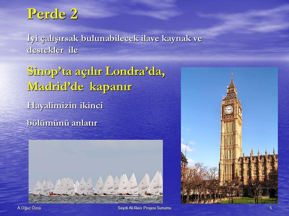 A.Oğuz ÖzcüSeydi Ali Reis Projesi Sunumu5 İyi çalışırsak bulunabilecek ilave kaynak ve destekler ile Sinop'ta açılır Londra'da, Madrid'de kapanır Hayalimizin ikinci bölümünü anlatır Perde 2
