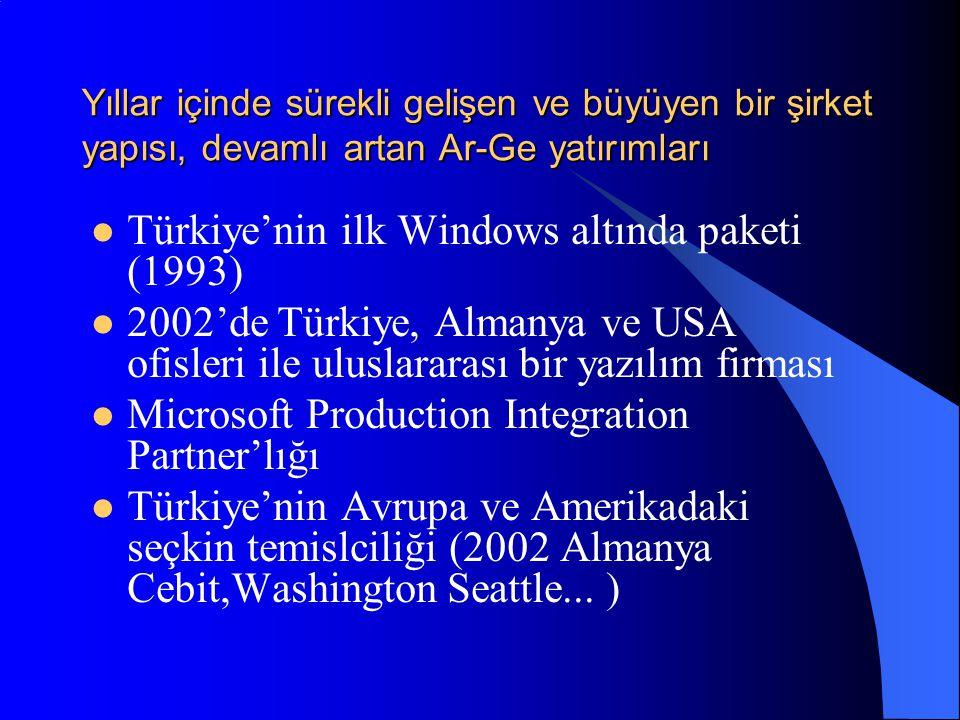 Yıllar içinde sürekli gelişen ve büyüyen bir şirket yapısı, devamlı artan Ar-Ge yatırımları  Türkiye'nin ilk Windows altında paketi (1993)  2002'de