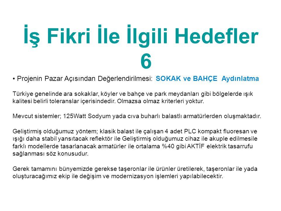 İş Fikri İle İlgili Hedefler 6 • Projenin Pazar Açısından Değerlendirilmesi: SOKAK ve BAHÇE Aydınlatma Türkiye genelinde ara sokaklar, köyler ve bahçe