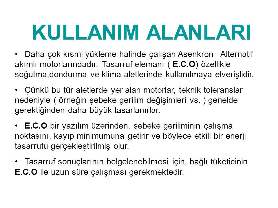 KULLANIM ALANLARI • Daha çok kısmi yükleme halinde çalışan Asenkron Alternatif akımlı motorlarındadır. Tasarruf elemanı ( E.C.O) özellikle soğutma,don