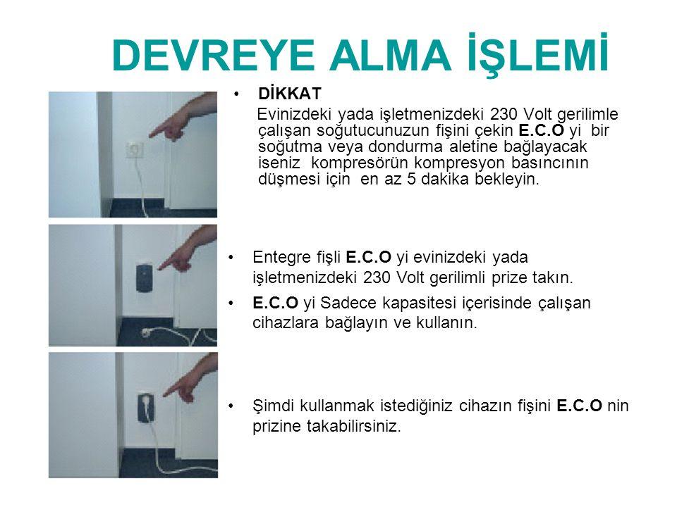 DEVREYE ALMA İŞLEMİ •DİKKAT Evinizdeki yada işletmenizdeki 230 Volt gerilimle çalışan soğutucunuzun fişini çekin E.C.O yi bir soğutma veya dondurma al