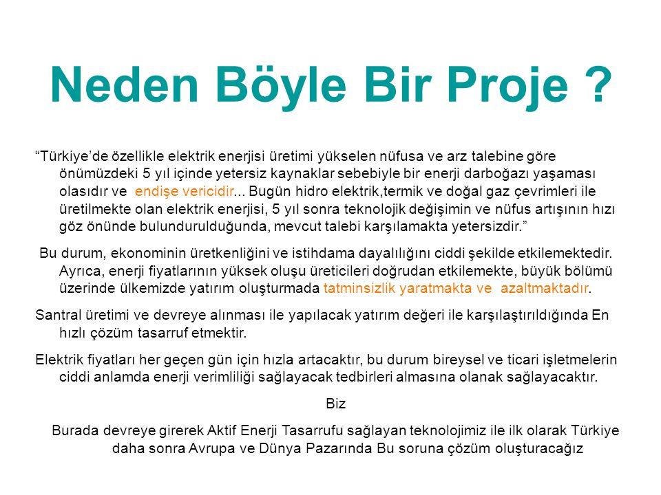 """Neden Böyle Bir Proje ? """"Türkiye'de özellikle elektrik enerjisi üretimi yükselen nüfusa ve arz talebine göre önümüzdeki 5 yıl içinde yetersiz kaynakla"""