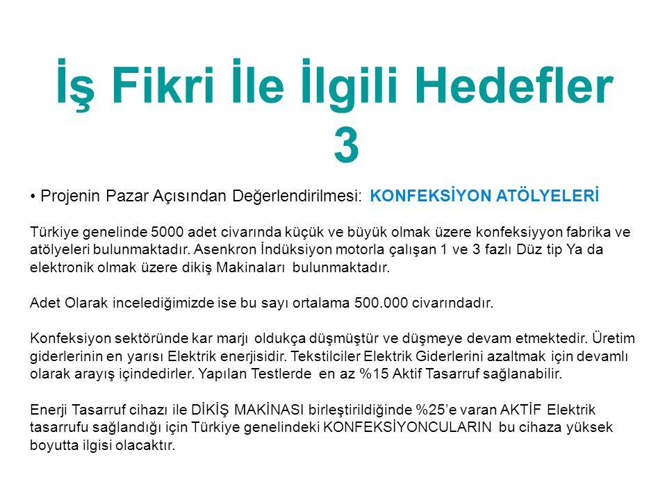 İş Fikri İle İlgili Hedefler 3 • Projenin Pazar Açısından Değerlendirilmesi: KONFEKSİYON ATÖLYELERİ Türkiye genelinde 5000 adet civarında küçük ve büy