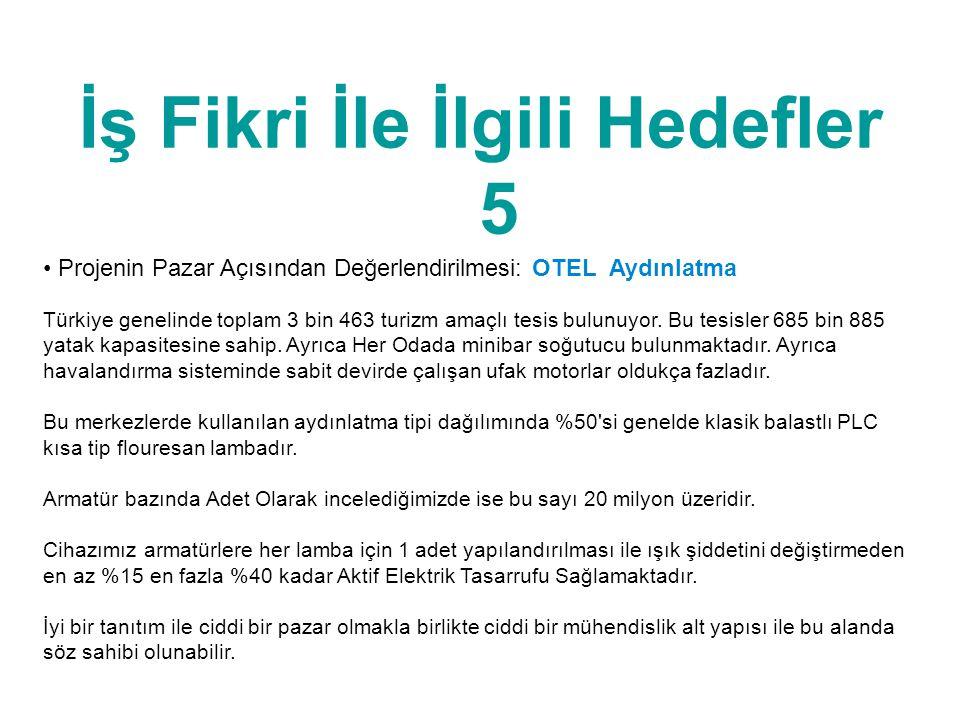 İş Fikri İle İlgili Hedefler 5 • Projenin Pazar Açısından Değerlendirilmesi: OTEL Aydınlatma Türkiye genelinde toplam 3 bin 463 turizm amaçlı tesis bu