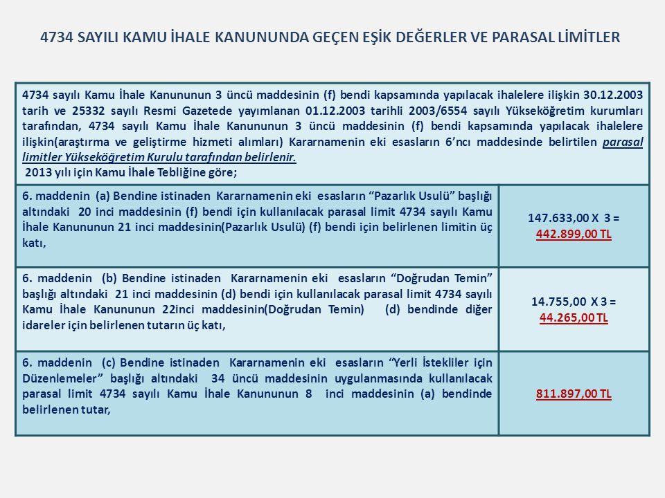 4734 sayılı Kamu İhale Kanununun 3 üncü maddesinin (f) bendi kapsamında yapılacak ihalelere ilişkin 30.12.2003 tarih ve 25332 sayılı Resmi Gazetede ya