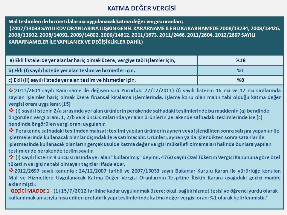 Mal teslimleri ile hizmet ifalarına uygulanacak katma değer vergisi oranları; (2007/13033 SAYILI KDV ORANLARINA İLİŞKİN GENEL KARARNAME İLE BU KARARNA