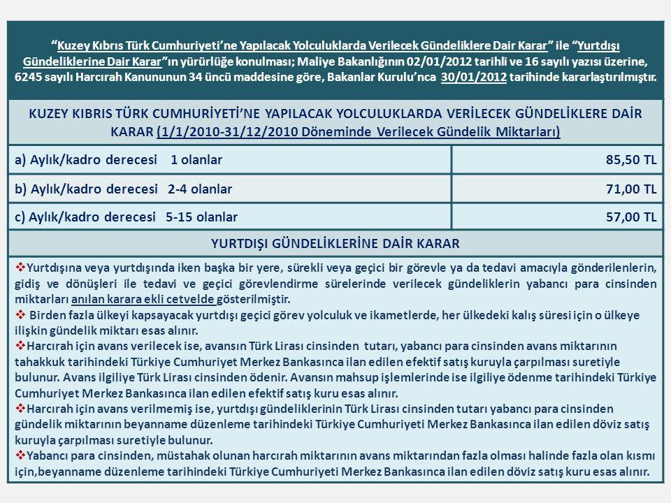 """"""" Kuzey Kıbrıs Türk Cumhuriyeti'ne Yapılacak Yolculuklarda Verilecek Gündeliklere Dair Karar"""" ile """"Yurtdışı Gündeliklerine Dair Karar""""ın yürürlüğe kon"""