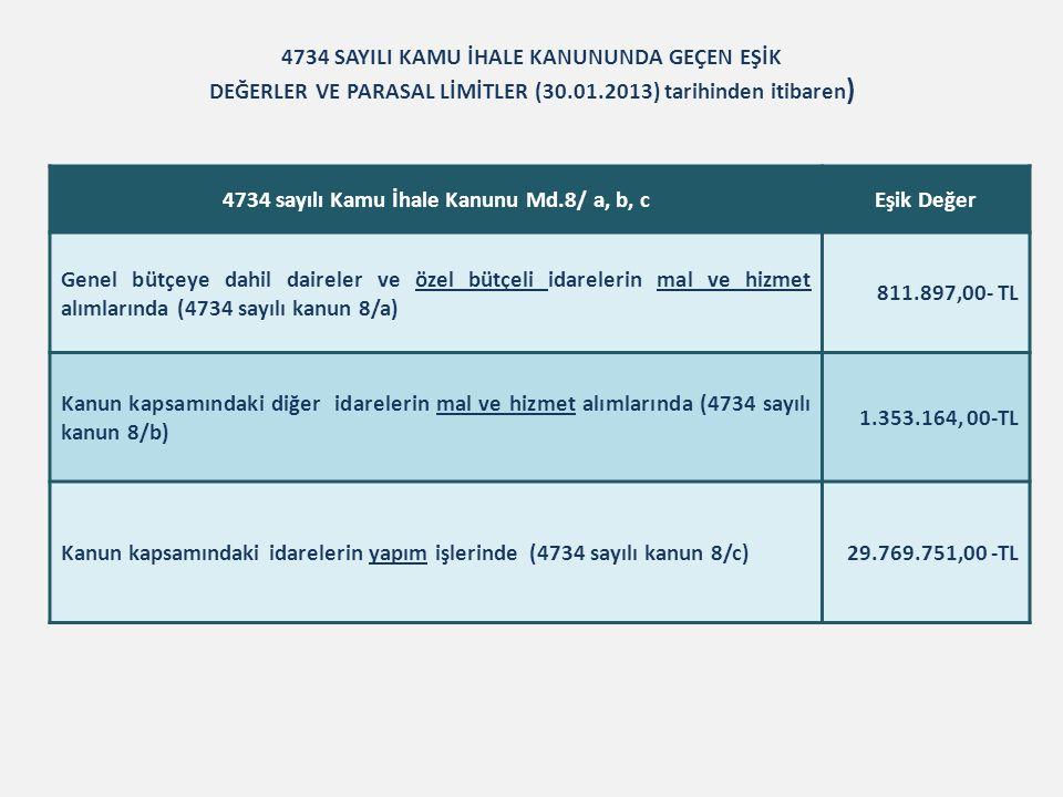 4734 SAYILI KAMU İHALE KANUNUNDA GEÇEN EŞİK DEĞERLER VE PARASAL LİMİTLER (30.01.2013) tarihinden itibaren ) 4734 sayılı Kamu İhale Kanunu Md.8/ a, b,
