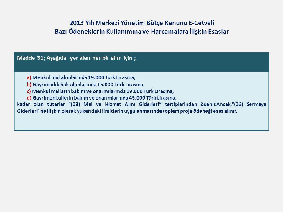 2013 Yılı Merkezi Yönetim Bütçe Kanunu E-Cetveli Bazı Ödeneklerin Kullanımına ve Harcamalara İlişkin Esaslar Madde 31; Aşağıda yer alan her bir alım i