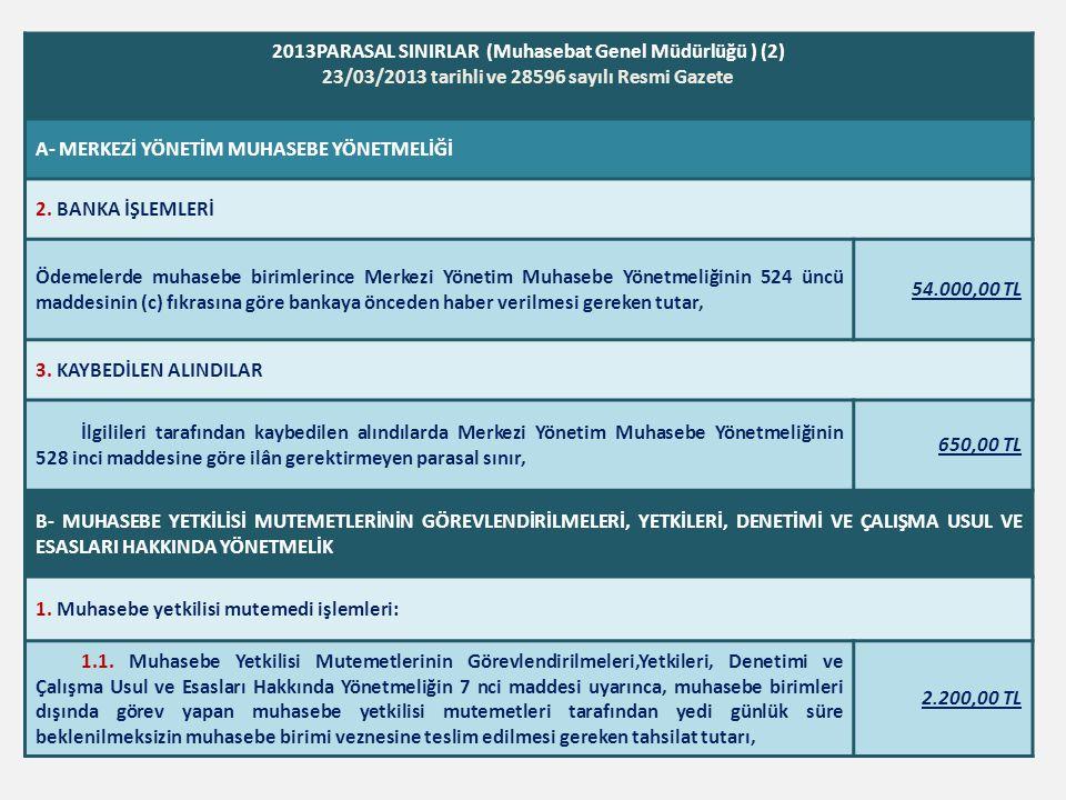2013PARASAL SINIRLAR (Muhasebat Genel Müdürlüğü ) (2) 23/03/2013 tarihli ve 28596 sayılı Resmi Gazete A- MERKEZİ YÖNETİM MUHASEBE YÖNETMELİĞİ 2. BANKA