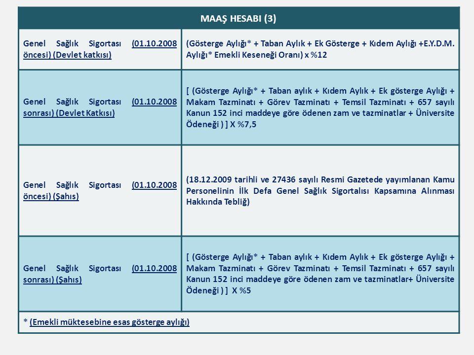 MAAŞ HESABI (3) Genel Sağlık Sigortası (01.10.2008 öncesi) (Devlet katkısı) (Gösterge Aylığı* + Taban Aylık + Ek Gösterge + Kıdem Aylığı +E.Y.D.M. Ayl