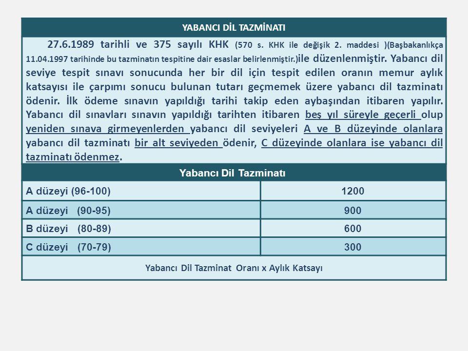 YABANCI DİL TAZMİNATI 27.6.1989 tarihli ve 375 sayılı KHK (570 s. KHK ile değişik 2. maddesi )(Başbakanlıkça 11.04.1997 tarihinde bu tazminatın tespit
