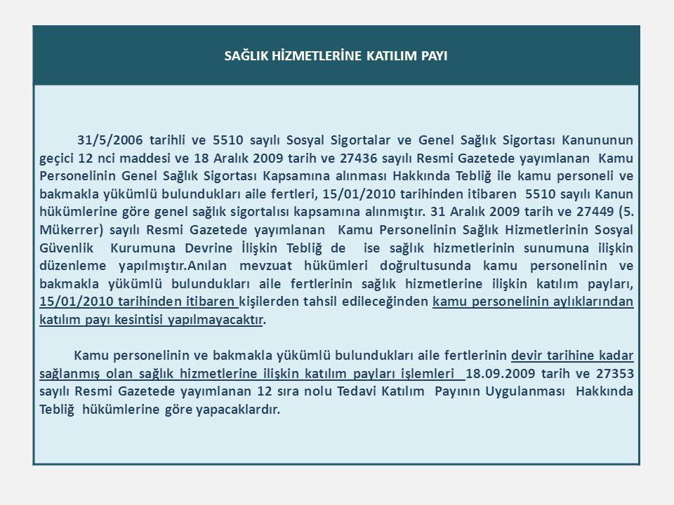 SAĞLIK HİZMETLERİNE KATILIM PAYI 31/5/2006 tarihli ve 5510 sayılı Sosyal Sigortalar ve Genel Sağlık Sigortası Kanununun geçici 12 nci maddesi ve 18 Ar