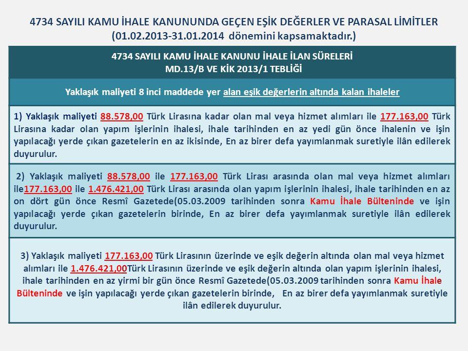 İHALE İLANLARI 4734 Sayılı Kamu İhale Kanunu Mad de:13 EŞİK DEĞERLERİN ÜSTÜNDEKİ İHALELERİN İLAN SÜRELERİ VE ARAÇLARI İhale Türüİdare TürüYaklaşık Maliyetİhale Usulü ve İlan Süresi(Gün) İlan Aracı Mal ve Hizmet Alım ihaleleri Genel ve Özel Bütçe811.897.-TL • Açık İhale: 40 • Belli İsteklilere Açık İhale: 14 • Pazarlık Usulü İhale: 25 KAMU İHALE BÜLTENİ Diğer İdareler1.353.164.-TL Yapım işleriBütün İdareler29.769.751.-TL İlanların,elektronik araçlarla hazırlanması ve gönderilmesi halinde,(a)/(1)bendindeki 40 günlük ilan süresi 7 gün kısaltılabilir.