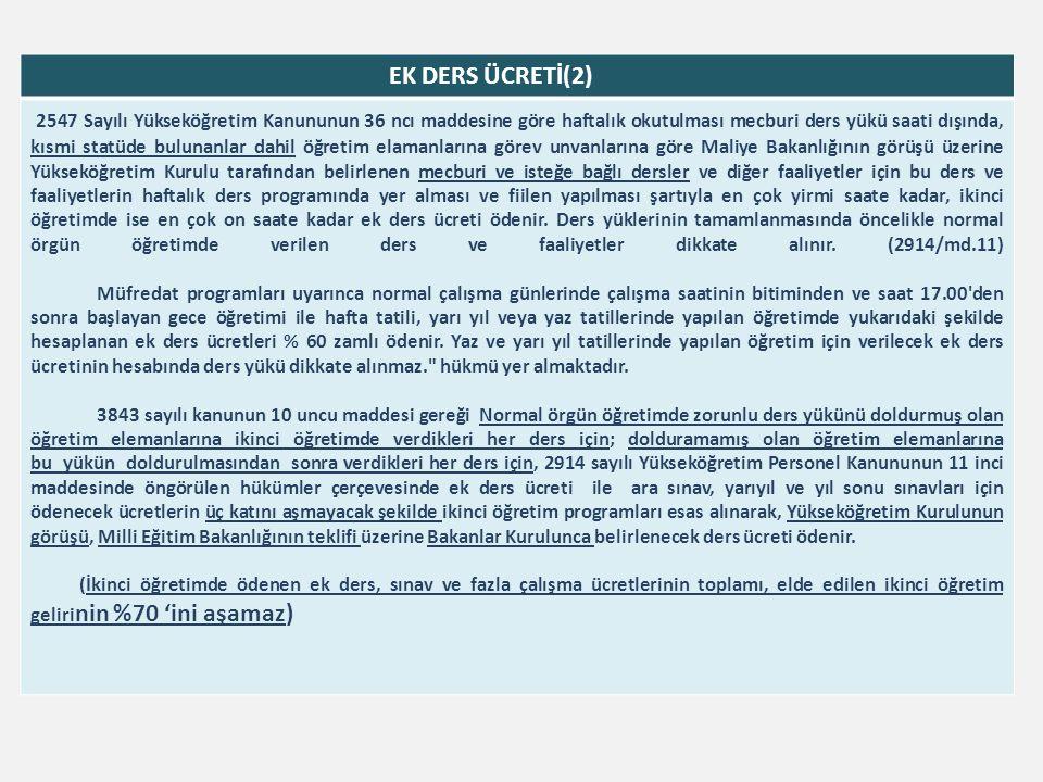 EK DERS ÜCRETİ(2) 2547 Sayılı Yükseköğretim Kanununun 36 ncı maddesine göre haftalık okutulması mecburi ders yükü saati dışında, kısmi statüde bulunan