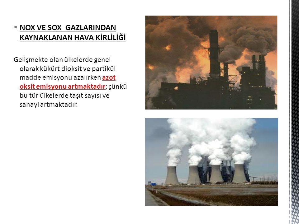  NOX VE SOX GAZLARINDAN KAYNAKLANAN HAVA KİRLİLİĞİ Gelişmekte olan ülkelerde genel olarak kükürt dioksit ve partikül madde emisyonu azalırken azot ok