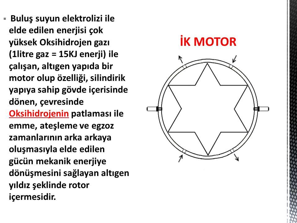 Buluş suyun elektrolizi ile elde edilen enerjisi çok yüksek Oksihidrojen gazı (1litre gaz = 15KJ enerji) ile çalışan, altıgen yapıda bir motor olup