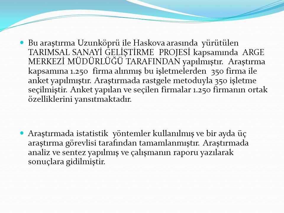  Bu araştırma Uzunköprü ile Haskova arasında yürütülen TARIMSAL SANAYİ GELİŞTİRME PROJESİ kapsamında ARGE MERKEZİ MÜDÜRLÜĞÜ TARAFINDAN yapılmıştır. A