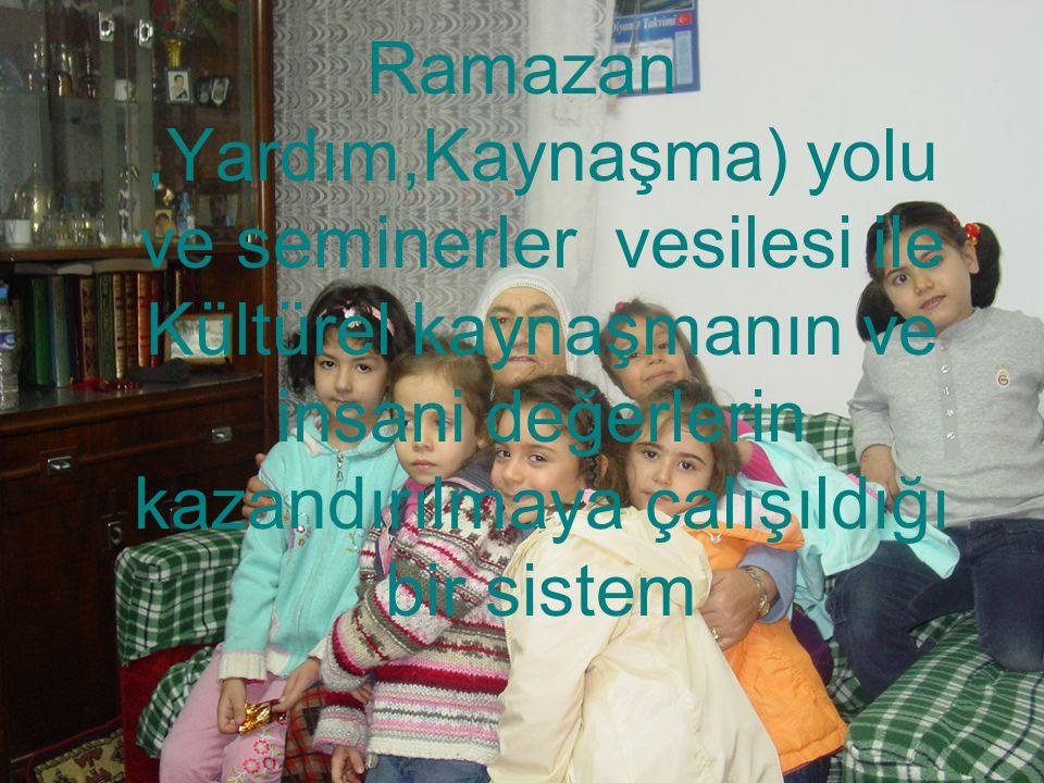 Ramazan,Yardım,Kaynaşma) yolu ve seminerler vesilesi ile Kültürel kaynaşmanın ve insani değerlerin kazandırılmaya çalışıldığı bir sistem