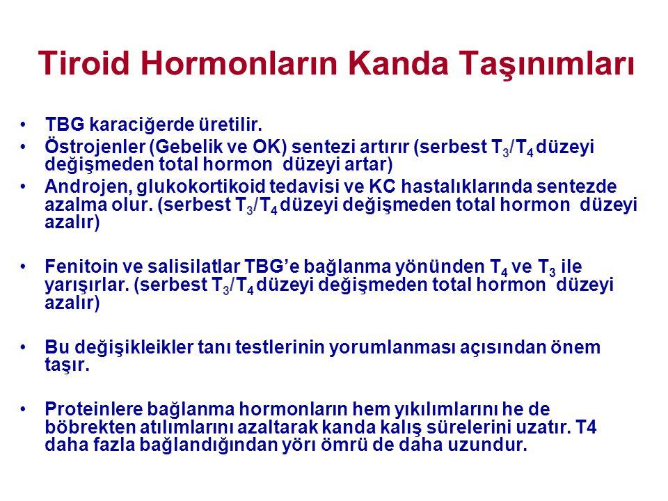 Tiroid Hormonların Kanda Taşınımları •TBG karaciğerde üretilir. •Östrojenler (Gebelik ve OK) sentezi artırır (serbest T 3 /T 4 düzeyi değişmeden total