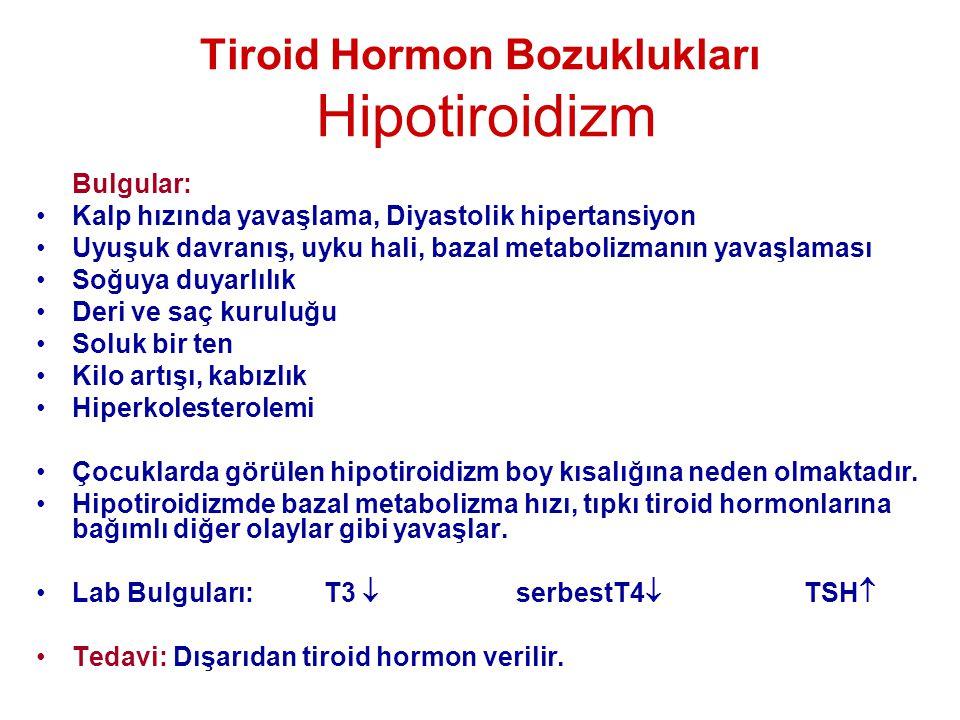 Tiroid Hormon Bozuklukları Hipotiroidizm Bulgular: •Kalp hızında yavaşlama, Diyastolik hipertansiyon •Uyuşuk davranış, uyku hali, bazal metabolizmanın