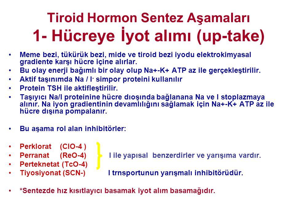 Tiroid Hormon Sentez Aşamaları 1- Hücreye İyot alımı (up-take) •Meme bezi, tükürük bezi, mide ve tiroid bezi iyodu elektrokimyasal gradiente karşı hüc