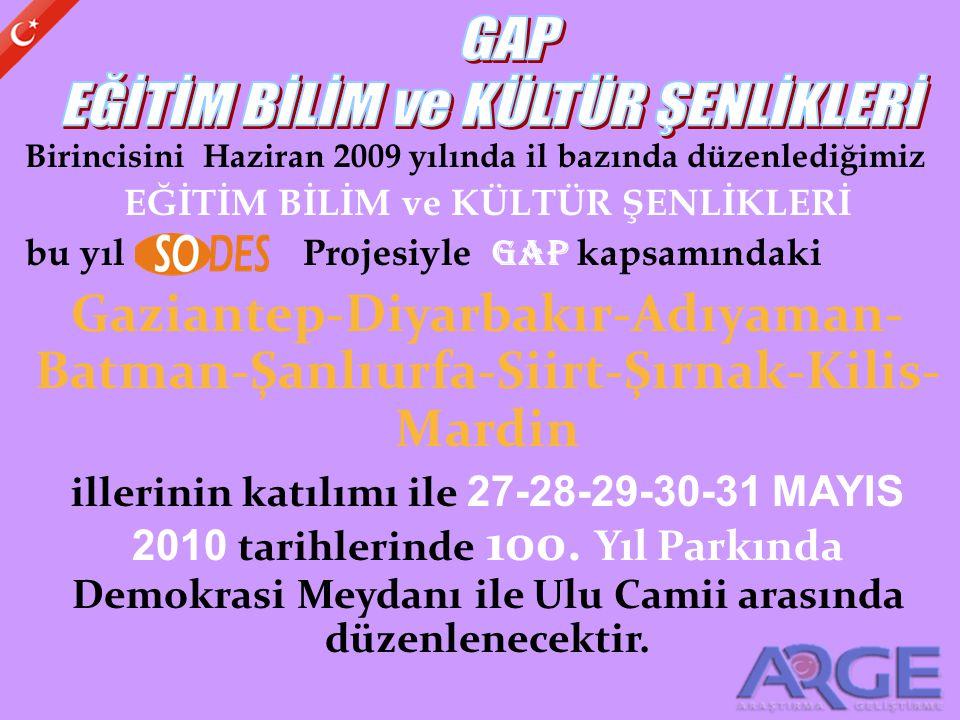 Birincisini Haziran 2009 yılında il bazında düzenlediğimiz EĞİTİM BİLİM ve KÜLTÜR ŞENLİKLERİ bu yıl Projesiyle GAP kapsamındaki Gaziantep-Diyarbakır-A