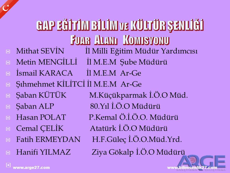 www.arge27.com www.bilimsenlik27.com  Mithat SEVİN İl Milli Eğitim Müdür Yardımcısı  Metin MENGİLLİ İl M.E.M Şube Müdürü  İsmail KARACA İl M.E.M Ar