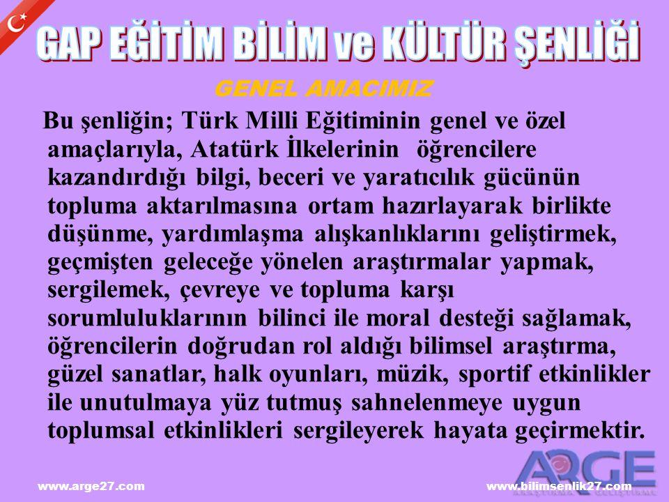 www.arge27.com www.bilimsenlik27.com Bu şenliğin; Türk Milli Eğitiminin genel ve özel amaçlarıyla, Atatürk İlkelerinin öğrencilere kazandırdığı bilgi,