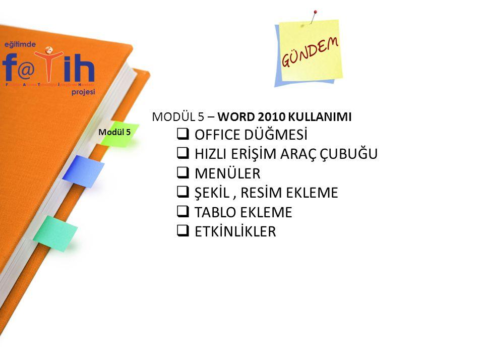Modül 5 MODÜL 5 – WORD 2010 KULLANIMI  OFFICE DÜĞMESİ  HIZLI ERİŞİM ARAÇ ÇUBUĞU  MENÜLER  ŞEKİL, RESİM EKLEME  TABLO EKLEME  ETKİNLİKLER