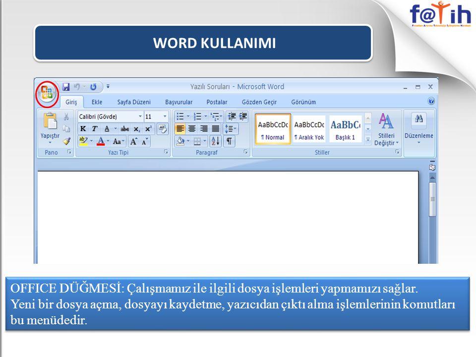 WORD KULLANIMI OFFICE DÜĞMESİ: Çalışmamız ile ilgili dosya işlemleri yapmamızı sağlar.